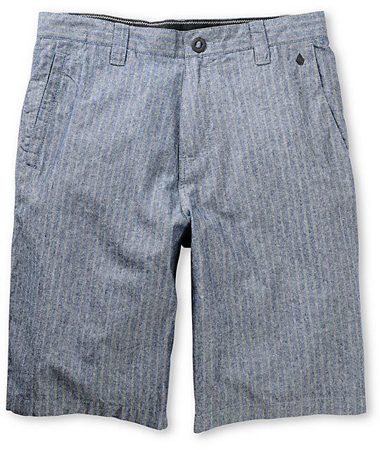 Volcom Ray Ray Chambray Indigo Pinstripe Shorts