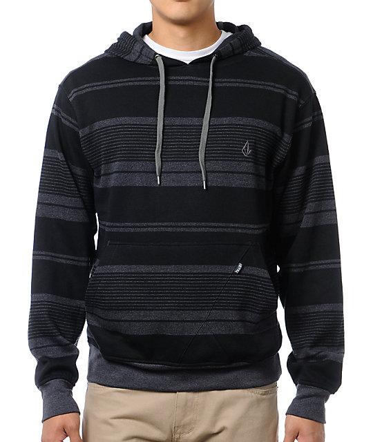 Volcom Rebunk Black Striped Pullover Hoodie