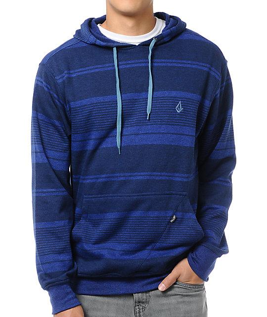 Volcom Rebunk Blue Striped Pullover Hoodie