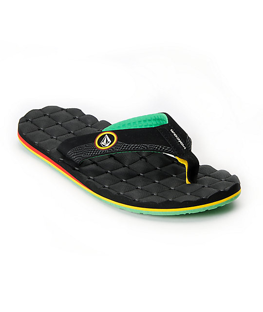 Volcom Recliner Black & Rasta Sandals