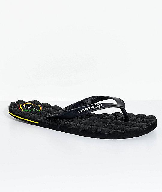Volcom Recliner Hawaiian Black Rubber Sandals