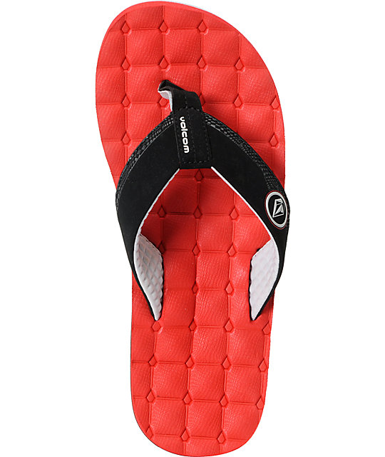 Volcom Recliner Red & Black Sandals