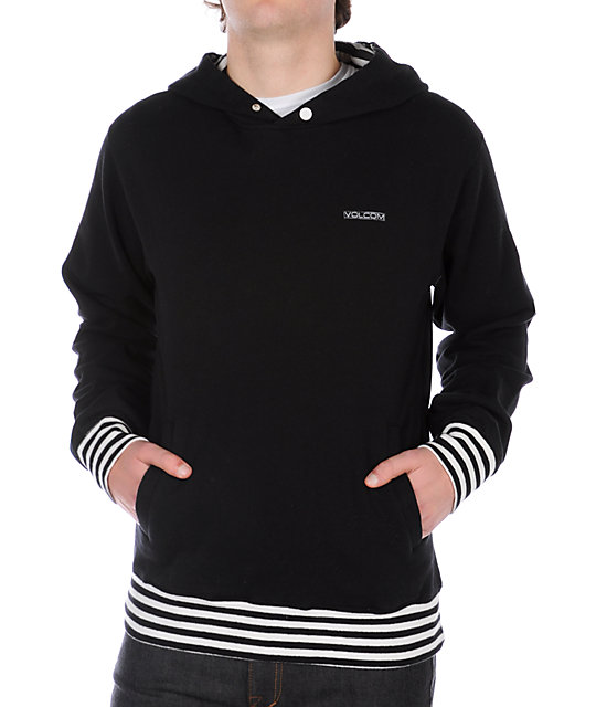 Volcom Right Stripe Black Pullover Hoodie