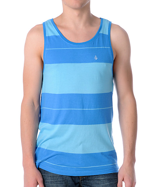 Volcom Riot Blue Striped Mens Tank Top