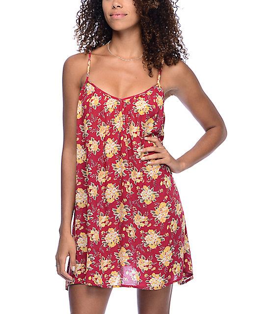 Volcom Roadtrip Mix Red Brown Dress