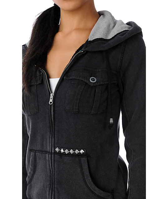 Volcom Roll Call Black Zip Up Hoodie