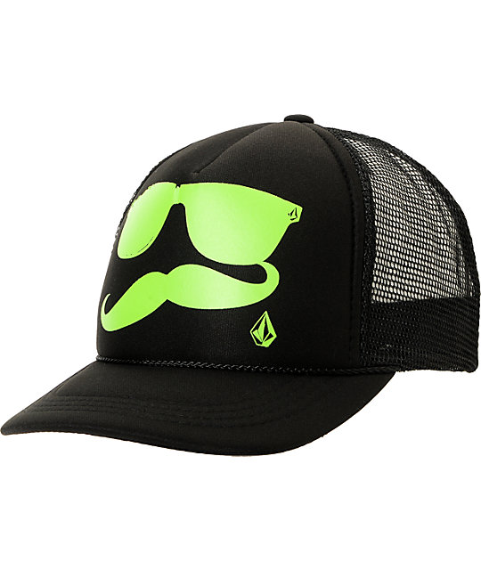 Volcom Russtache Black & Green Trucker Snapback Hat