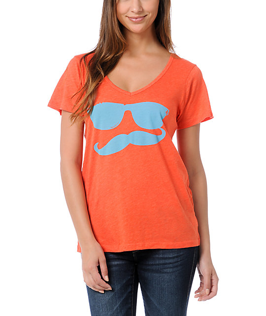 Volcom Russtache Orange V-Neck T-Shirt