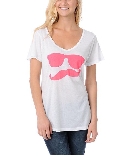 Volcom Russtache White Pink Boyfriend Fit V Neck T Shirt