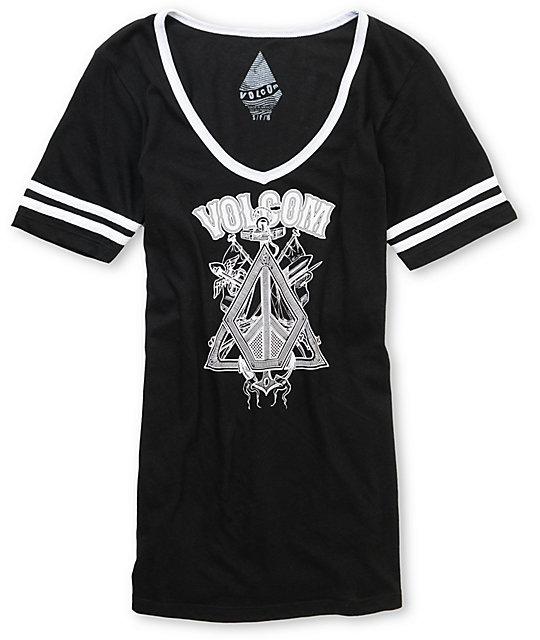 Volcom Sails Black V-Neck Football T-Shirt