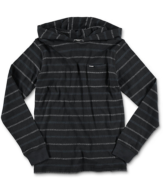 Volcom Sanders Hooded Black Youth Long Sleeve T-Shirt