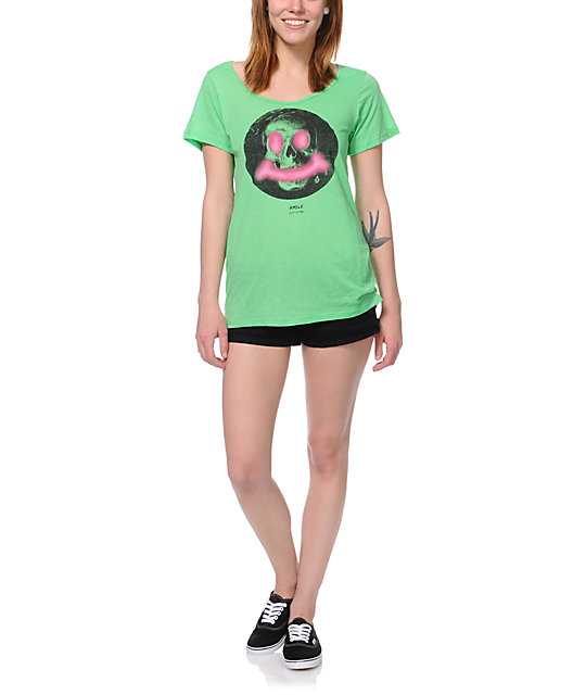 Volcom Say Queso Green Scoop Neck T-Shirt