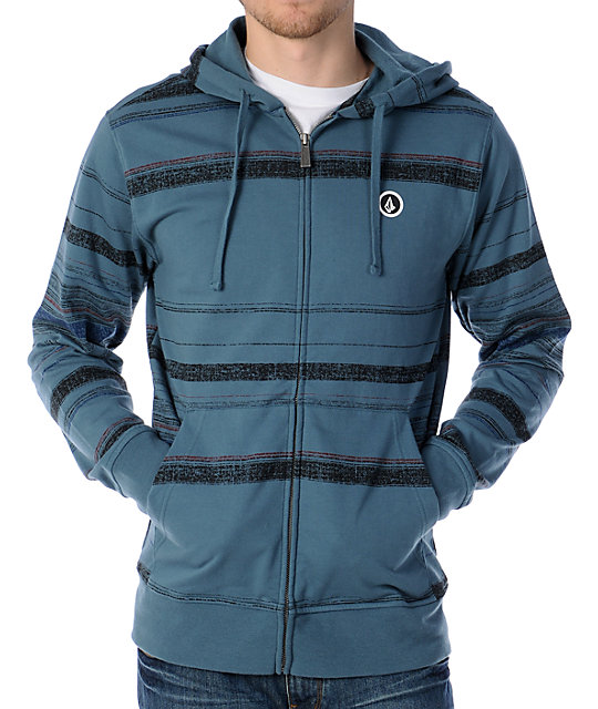 Volcom Schmackers Turquoise Blue Striped Zip Up Hoodie