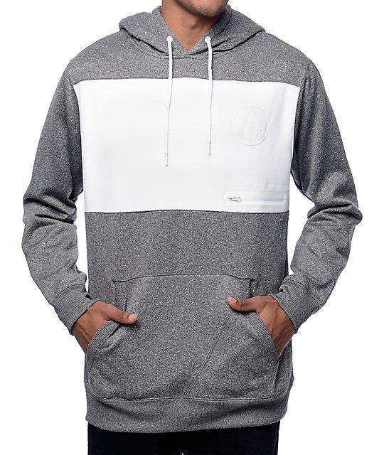 Section Ate Grey & White Tech Fleece Hoodie