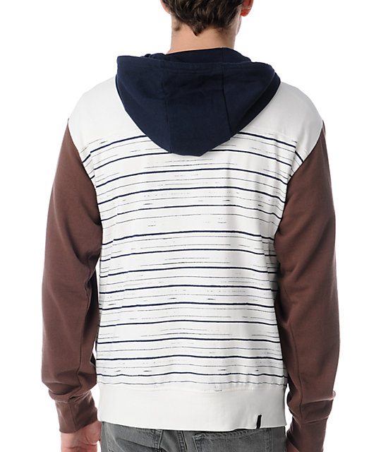 Volcom Sectional White & Blue Striped Pullover Hoodie