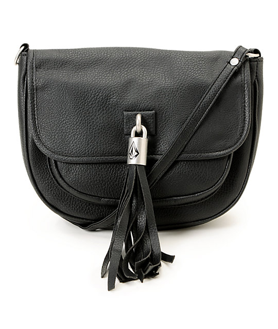 Volcom Shake Your Tassel Black Crossbody Purse