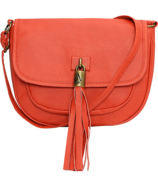 Volcom Shake Your Tassel Coral Crossbody Purse
