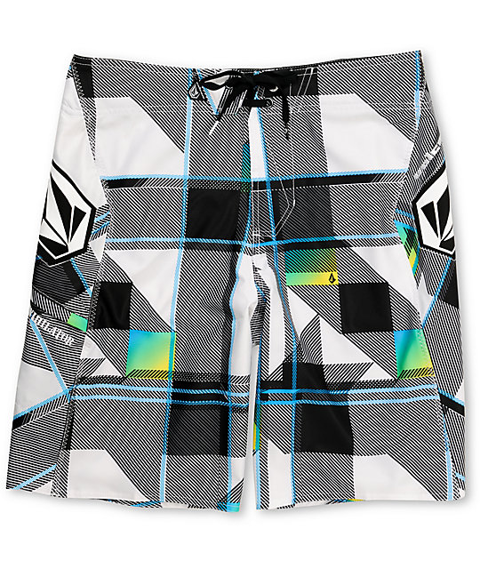 Volcom Shotgun Annihilator White Plaid Board Shorts