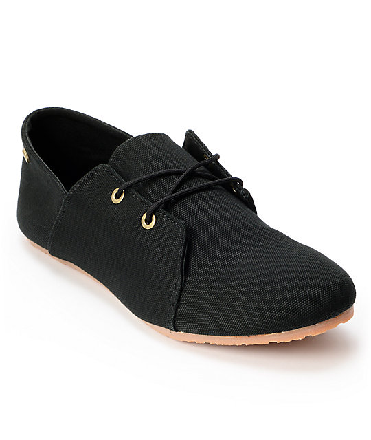 Volcom Soul Mates Black Canvas Slip On Shoes