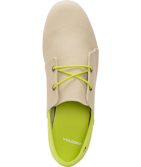 Volcom Soul Mates Natural Canvas Slip On Shoes