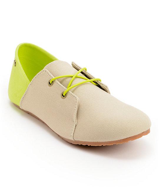 Volcom Soul Mates Natural Canvas Slip On Shoes