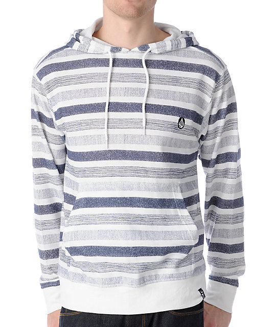 Volcom Speckle White & Navy Striped Pullover Hoodie
