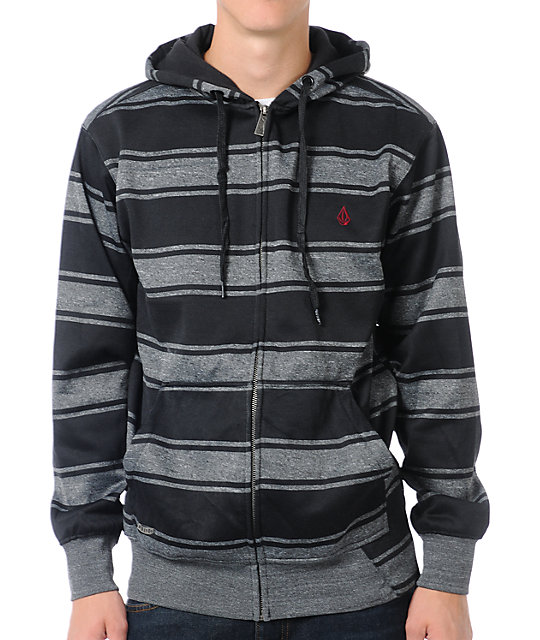 Volcom Spunch Black & Grey Striped Hydro Tech Fleece Jacket