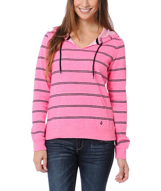 Volcom Stacker Neon Pink Stripe Pullover Hoodie