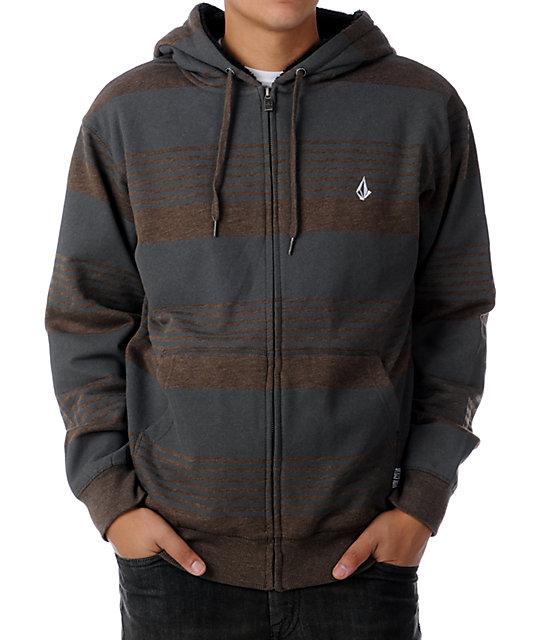 Volcom Standard Brown Stripe Hoodie