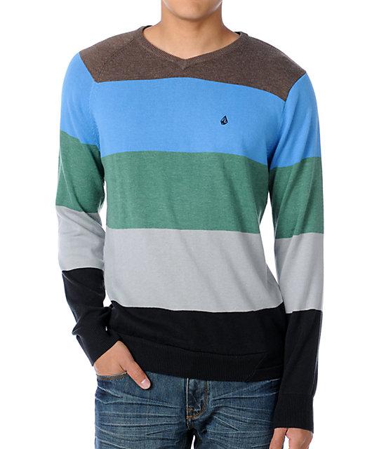 Volcom Standard Stripe Green V-Neck Sweater