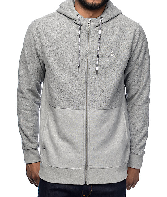 Volcom Static Stone Heather Grey Zip Up Hoodie at Zumiez : PDP