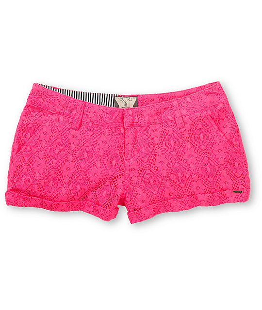 Volcom Stone Roses Electric Pink Lace Shorts