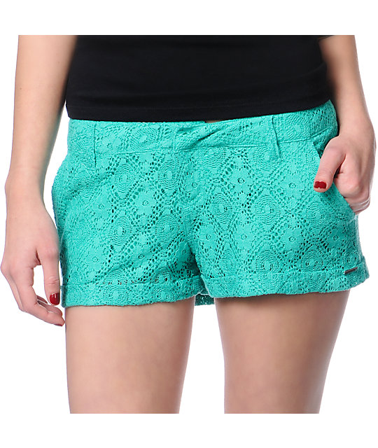 Volcom Stone Roses Teal Lace Shorts