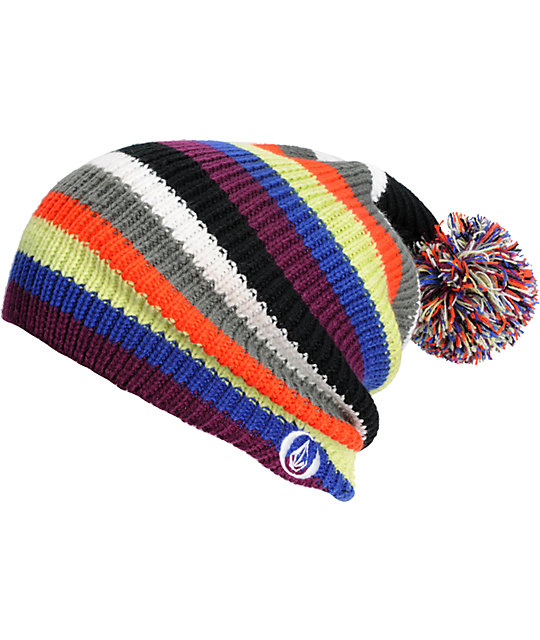 Volcom Stripe Purple Pom Beanie