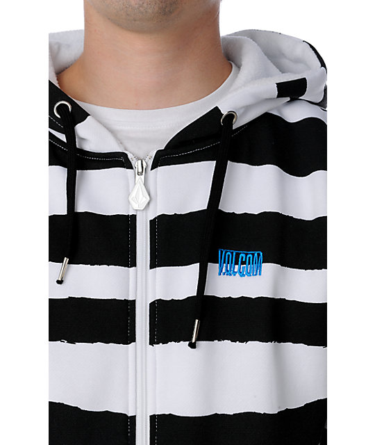 Volcom Stripe White & Black Tech Fleece Jacket