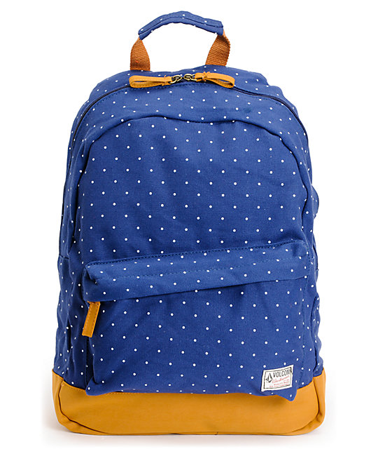 Volcom Supply And Demand Navy Polka Dot Backpack