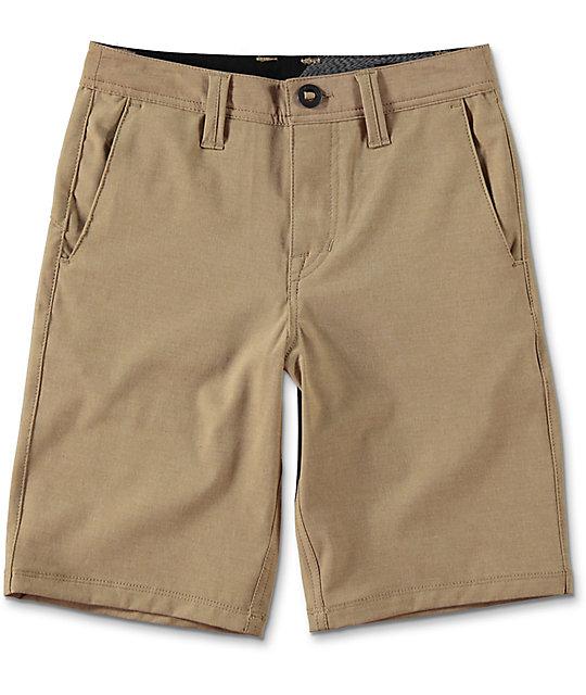 Volcom Surf N' Turf Static Dark Khaki Boys Hybrid Shorts