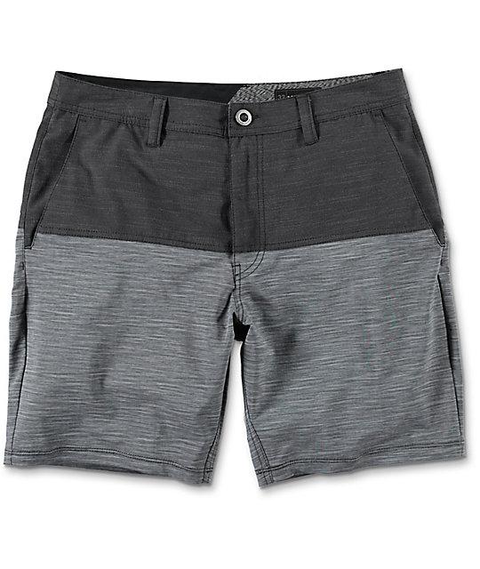 Volcom Surf N Turf Block Grey & Charcoal Hybrid Shorts