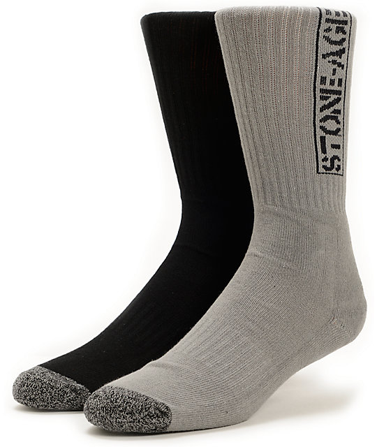 Volcom Tech Stone Age Black & Grey Crew Socks