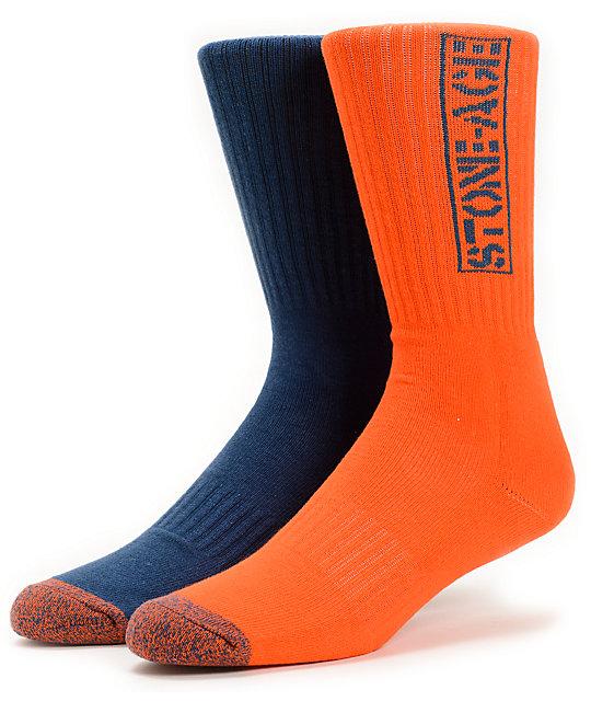 Volcom Tech Stone Age Navy & Orange Crew Socks