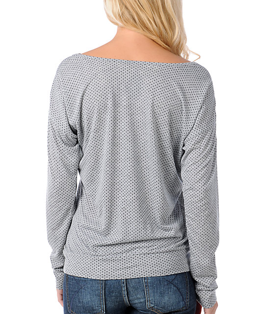 Volcom This Or That Easy Grey Long Sleeve Top