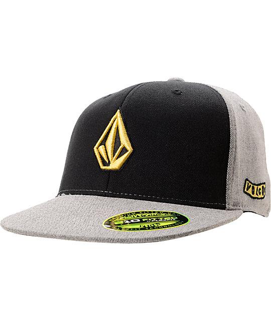 Volcom Too Stone Fabric Black & Grey FlexFit Hat
