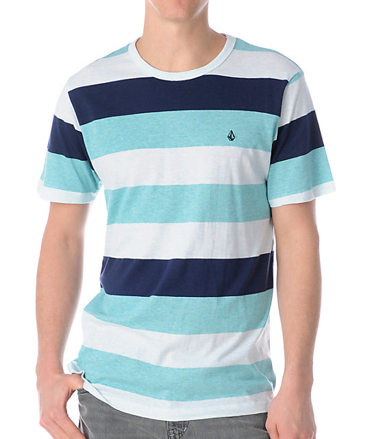 Volcom Transmit Aqua Stripe Knit T-Shirt