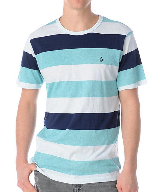 Volcom Transmit Aqua Stripe Knit T-Shirt