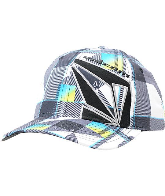 Volcom Transplant White Plaid Flexfit Hat