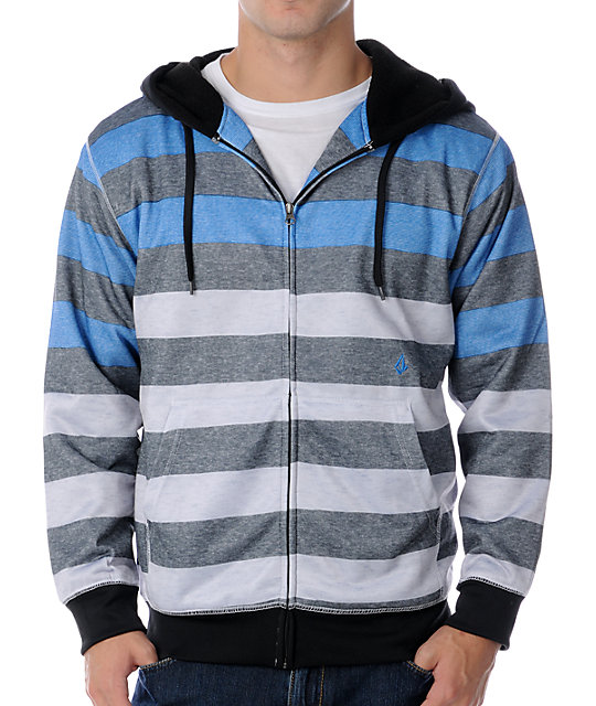 Volcom Tres Stripe Blue Stripe Tech Fleece Jacket