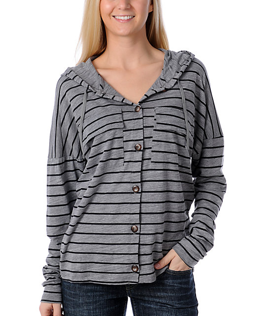 Volcom Trigg Her Heather Grey Striped Hoodie