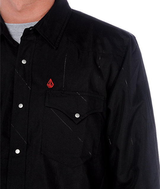 Volcom Union Black Long Sleeve Woven Shirt
