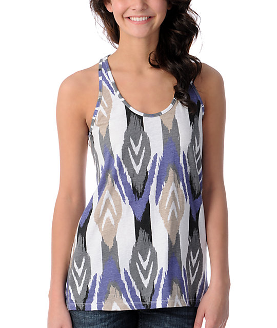 Volcom V.Co Lives White & Purple Twist Back Tank Top