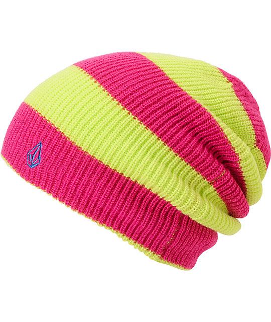 Volcom VIP Pink & Green Stripe Reversible Beanie